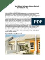 Iklan Rumah Dijual Cilodong, Depok, Cluster Exclusif Grand Depok City