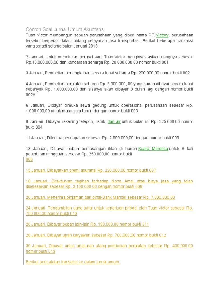 Contoh Soal Jurnal Umum 30 Transaksi Contoh Aoi