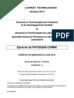 Épreuve de physique-chimie pour la série STI2D et STL spécialité sciences physiques et chimiques