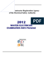 1293X Master Electrician Exam Information Package 2012