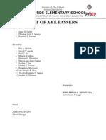 LIST OF A&E passers
