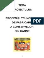 Tehnologia de Obtinere a Conservelor Din Carne