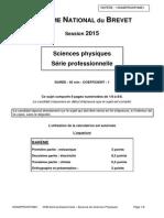 Épreuve de physique-chimie pour la série professionnelle du brevet