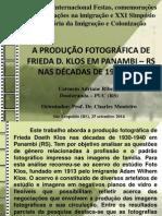 A produção fotográfica de Frieda D. Klos em Panambi – RS nas décadas de 1930-1940