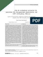 Calidad de Vida de Cuidadores Primarios de Pacientes Con Discapacidad Dependiente Del CRIT Chihuahua Mexico