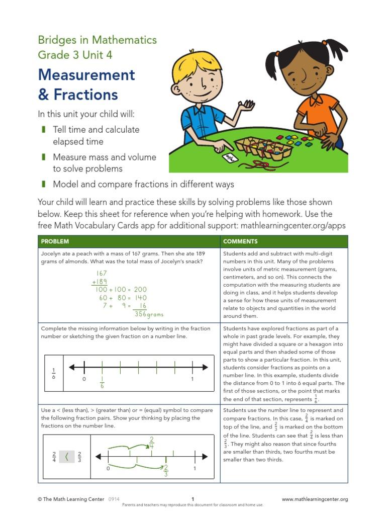 bridges 3rd grade unit 4 | Fracción (Matemáticas) | Unidades