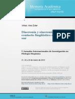 Diacronía y Sincronía en El Contacto Lingüístico en La Patagonia Sur