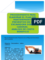 Mantenimiento Excavadora Sobre Cadenas. Análisis de costos