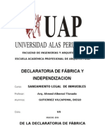 De La Declaratoria de Fábrica e Independizacion, Diego Vivienda