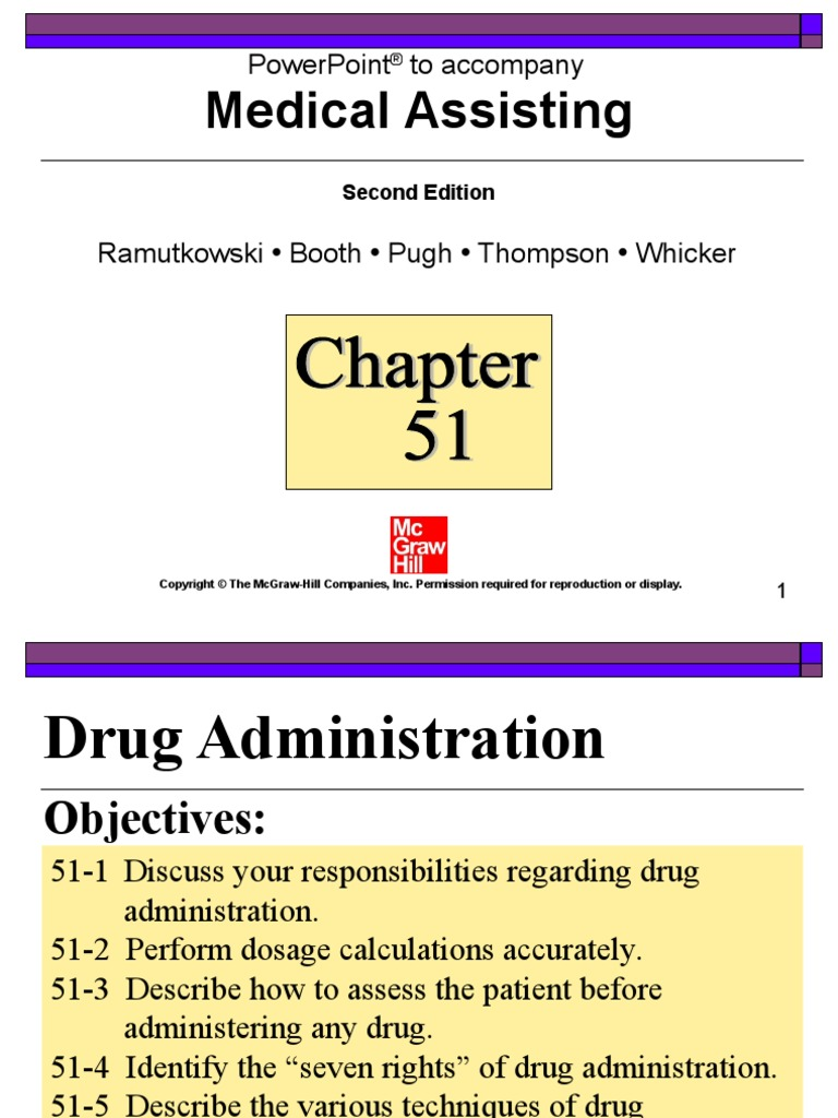 Workbooks workbook to accompany medical assisting answers : Chapter 51 | Drugs | Pharmacology