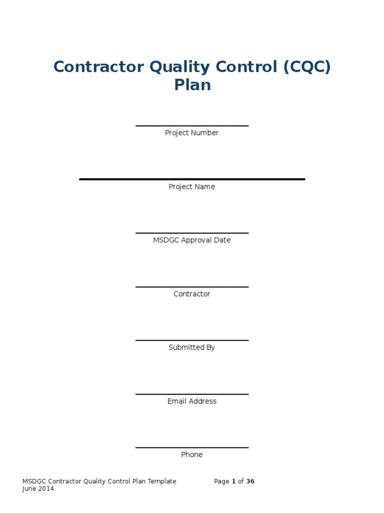 MSDGC Contractor QC Plan Template | Specification (Technical ...