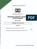Nakuru County Solid Waste Management Fund Bill 2014