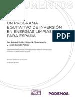 UN PROGRAMA EQUITATIVO DE INVERSIÓN EN ENERGÍAS LIMPIAS PARA ESPAÑA
