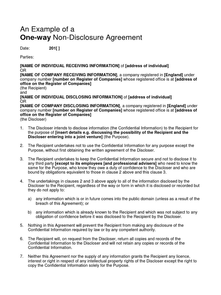 Example One Way Non Disclosure Agreement Pdf Non Disclosure