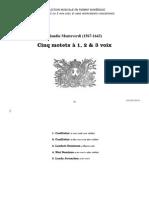 Cinq motets à 1, 2 et 3 voix / Claudio Monteverdi