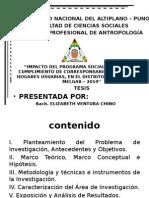 ''IMPACTO DEL PROGRAMA SOCIAL JUNTOS EN EL  CUMPLIMIENTO DE CORRESPONSABILIDADES POR LOS HOGARES USUARIAS, EN EL DISTRITO DE SANTA ROSA – MELGAR – 2014''
