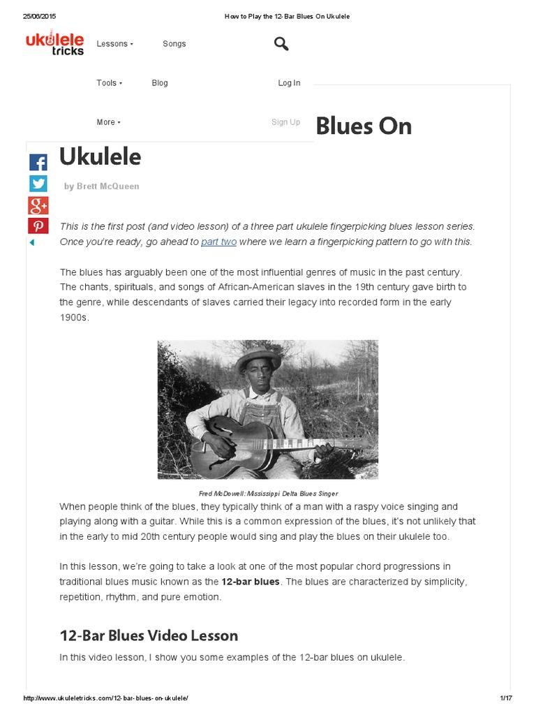 05 How To Play The 12 Bar Blues On Ukulele Blues Music Theory