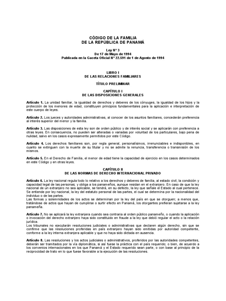 Codigo de familia de la republica de panama for Derecho de paternidad