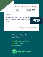 Codigo de Etica Para Los Profesionales de La Salud Ocupacional