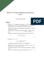 Lista 2 - MAT5719 - Cálculo Diferencial Geométrico no Rn