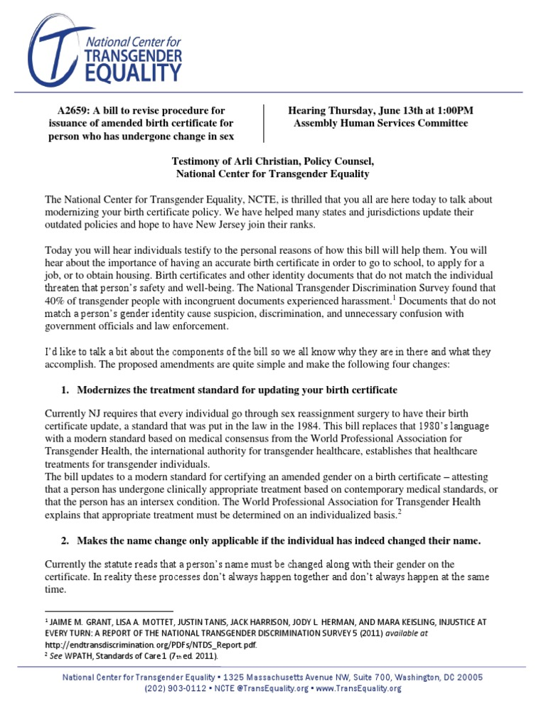 Ncte statement on new jersey birth certificate modernization bill ncte statement on new jersey birth certificate modernization bill lgbtq rights transgender 1betcityfo Image collections