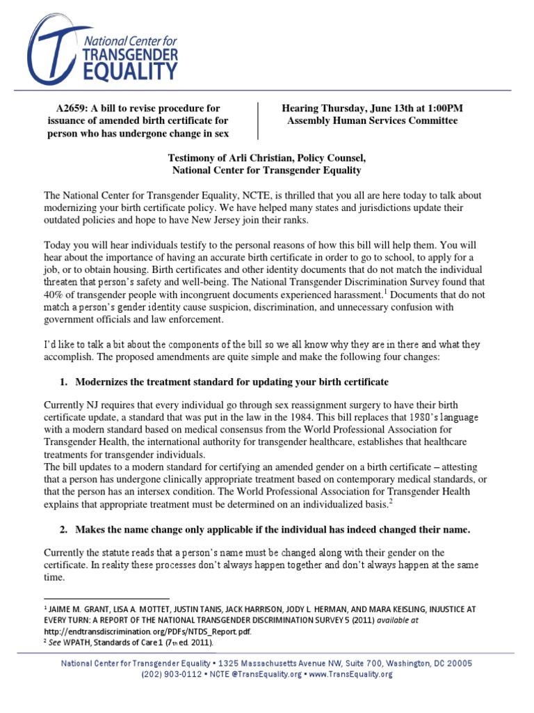 Ncte Statement On New Jersey Birth Certificate Modernization Bill