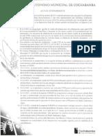 Acta de entendimiento Gobierno municipal cochabamba