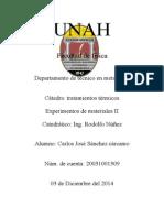 Trabajo Fina Carlos Sanchez Experimentos II y Tratamientos Termico UNAH