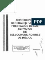 Condiciones Generales Para La Prestacion de Los Servicios de Telecomm19!07!13