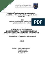 II Seminario de Docencia e Investigación en Las Cátedras de Matemática Para Economistas