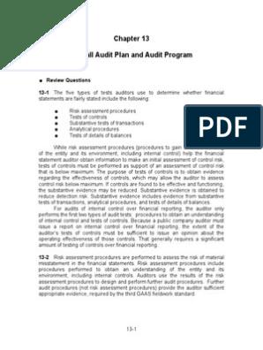 audit chapter 13 quizlet