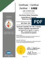 United Electric Controls Certificate