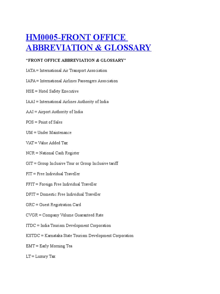 Abbreviations of Hotel Front Office | Hotel | Motel