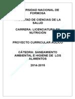 """PROYECTO AÚLICO DE """"SANEAMIENTO AMBIENTAL E HIGIENE DE LOS ALIMENTOS"""""""