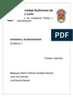 Ambiente y Sustentabilidad- Evidencia 1. uanl, facultad de contaduria publica y administracion