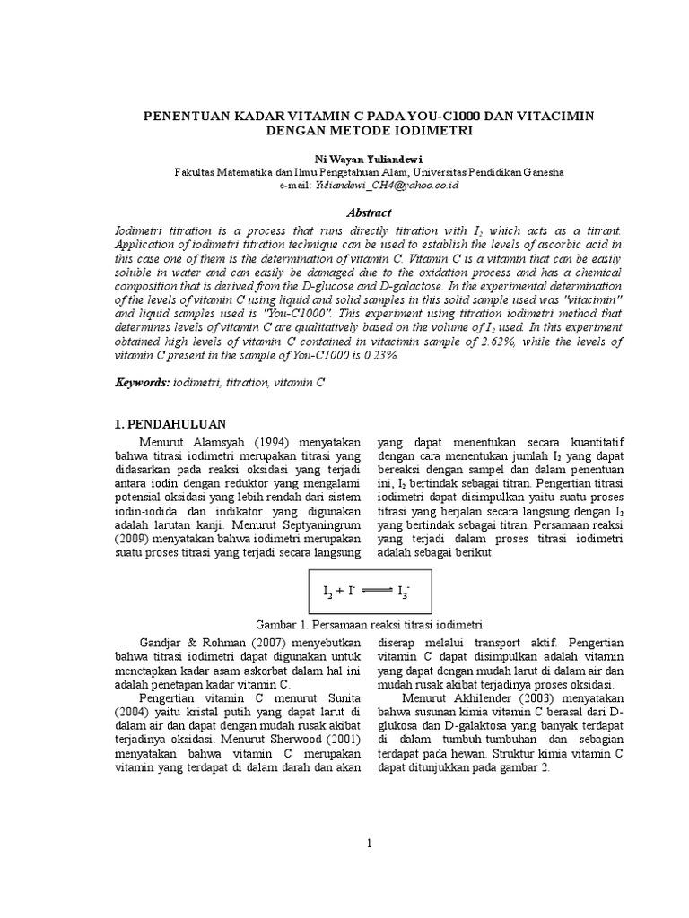 Artikel Penentuan Kadar Vitamin C Metode Iodimetri