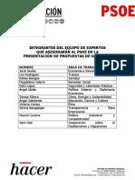 Los expertos que asesorarán a Pedro Sánchez en su programa para las generales (PDF)
