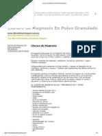 Cloruro de Magnesio en Polvo Granulado