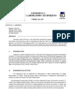 Experiment #1 - Basic Laboratory Techniques