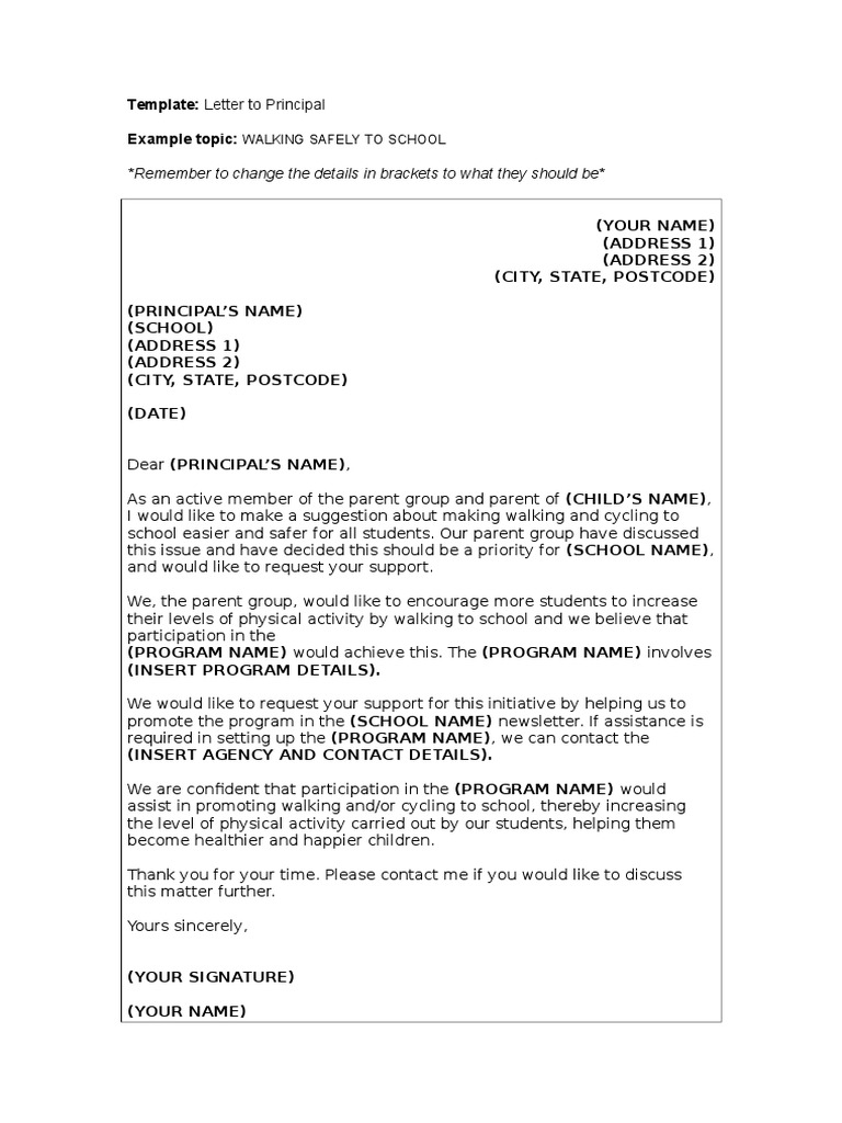 Template letter to principal school council spiritdancerdesigns Gallery