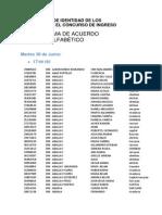 Verificación de identidad de los inscriptos en el concurso de ingreso