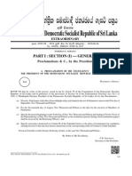 Gazette on Dissolving Sri Lanka Parliament and Holding General Election 2015