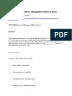 OPMA 3306 Operations Management Midterm Exam