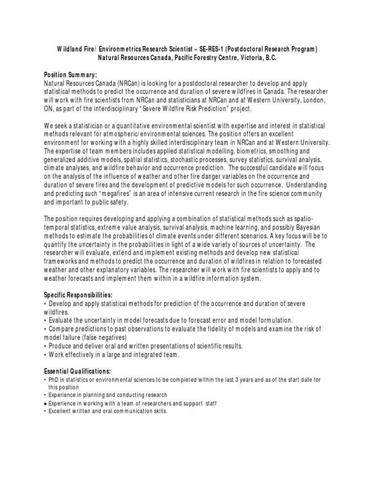 Wildland Fire / Environmetrics Post Doctoral Position