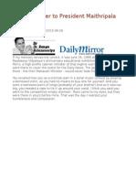 An Open Letter to President Maithripala Sirisena
