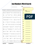 Ordinal Numbers Word Search