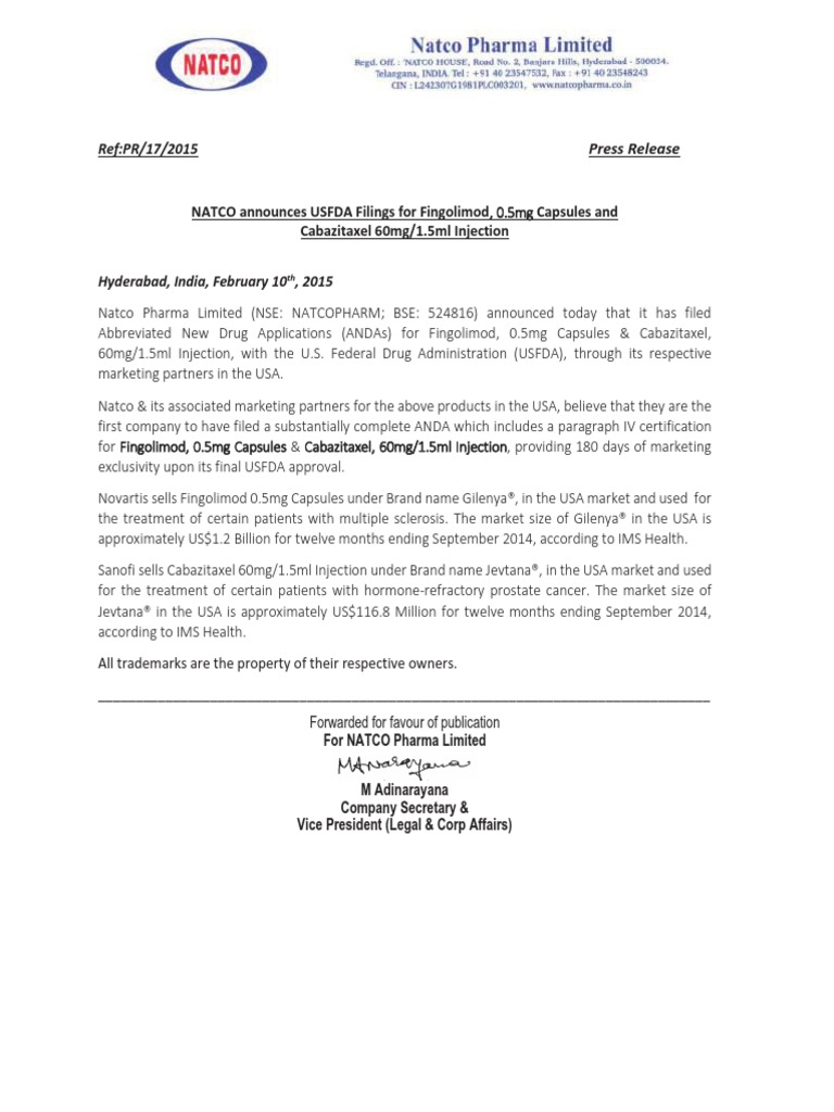 Natco Announces Usfda Filings For Fingolimod 05mg Capsules And