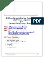 RBI Assistants 2015 GK Capsule(www.newstechcafe.com )