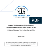 The Animal Law Institute - Submission Regarding the Dog and Cat Management (Miscellaneous) Amendment Bill 2015 And Code of Practice for the Welfare of Dogs