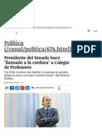 Presidente del Senado hace 'llamado a la cordura' a Colegio de Profesores _ Política _ LA TERCERA